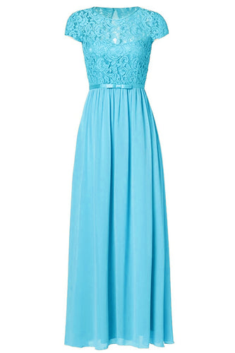 Genevieve aqua spa turquoise blue   lace short sleeved long bridesmaid wedding bridal prom evening dress loulous bridal boutique ltd uk