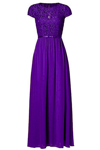Genevieve Cadbury Purple Short sleeved lace chiffon long maxi bridesmaid wedding bridal dress uk