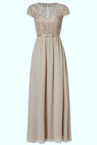 Genevieve Mink Taupe Coffee Short sleeved lace chiffon long maxi bridesmaid wedding bridal dress uk