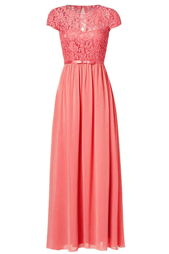 Genevieve coral orange  lace short sleeved long bridesmaid wedding bridal prom evening dress loulous bridal boutique ltd uk