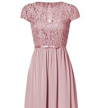 Genevieve Dusky dusty blush pink Short sleeved lace chiffon long maxi bridesmaid wedding bridal dress uk