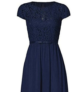 Genevieve Dark Navy blue Short sleeved lace chiffon long maxi bridesmaid wedding bridal dress uk