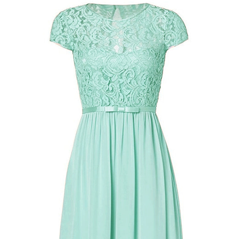 Genevieve Pale Mint Green Short sleeved lace chiffon long maxi bridesmaid wedding bridal dress uk