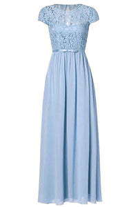 Genevieve Pale Pastel Baby Light blue Short sleeved lace chiffon long maxi bridesmaid wedding bridal dress uk