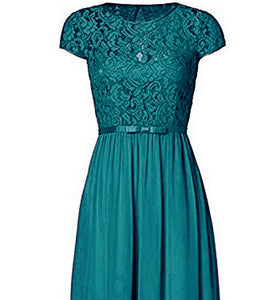 Genevieve Teal Green Short sleeved lace chiffon long maxi bridesmaid wedding bridal dress uk