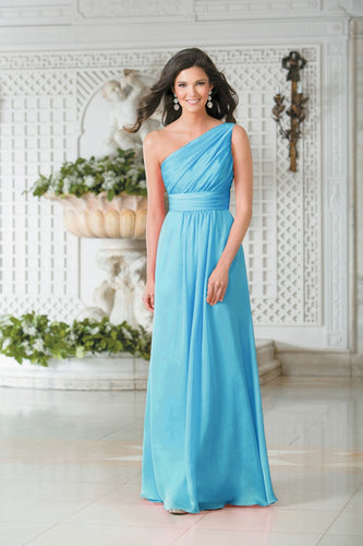 Georgie Aqua Spa Blue Turquoise One Shoulder Bridesmaid Wedding Evening Prom Dress Loulous Bridal Boutique ltd UK