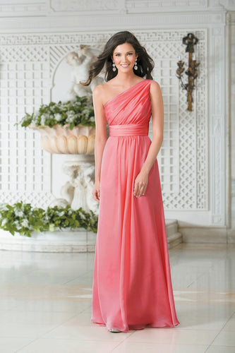 Georgie Coral Orange One Shoulder Bridesmaid Wedding Evening Prom Dress Loulous Bridal Boutique ltd UK