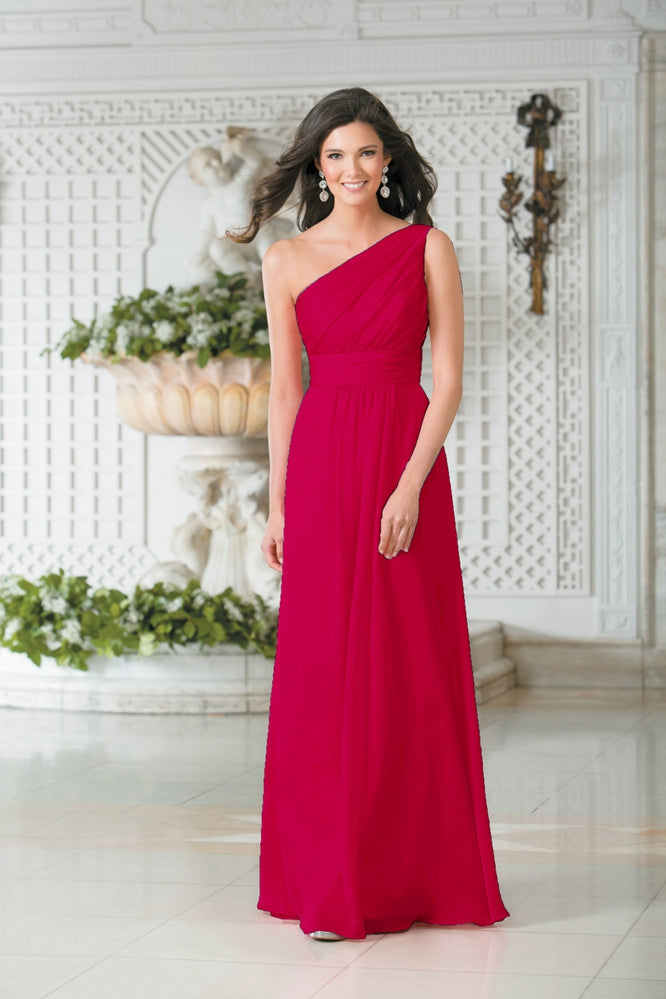 Georgie Hot Pink Fucshai Cerise One Shoulder Grecian bridesmaid wedding bridal evening prom ballgown dress uk