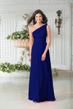 Georgie Royal Cobalt Blue One Shoulder Bridesmaid Wedding Evening Prom Dress Loulous Bridal Boutique ltd UK