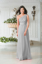 Georgie Silver Grey One Shoulder Bridesmaid Wedding Evening Prom Dress Loulous Bridal Boutique ltd UK