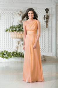 Georgie Apricot Coral Orange One Shoulder Bridesmaid Wedding Evening Prom Dress Loulous Bridal Boutique ltd UK