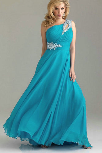 Gina turquoise blue crystal beaded one shoulder bridesmaid wedding bridal evening prom dress UK  Loulous Bridal Boutique