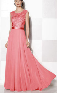 Gracie coral lace chiffon long bridesmaid wedding prom evening dress loulous bridal boutique uk