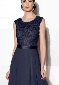 Gracie dark navy  blue lace chiffon long bridesmaid evening prom wedding bridal dress loulous bridal boutique ltd uk
