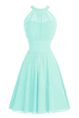 Gabrielle Light Pale Mint Green High neck short chiffon bridesmaid wedding bridal evening dress Loulous Bridal Boutique Ltd UK