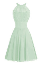 Gabrielle Pale Light Pistachio Green  High neck short chiffon bridesmaid wedding bridal evening dress Loulous Bridal Boutique Ltd UK