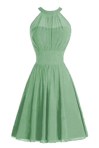 Gabrielle bamboo sage green  High neck short chiffon bridesmaid wedding bridal evening dress Loulous Bridal Boutique Ltd UK