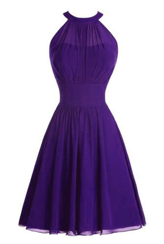 Cadbury Purple Chiffon High Neck short bridesmaid wedding bridal evening dress Loulous Bridal Boutique Ltd UK