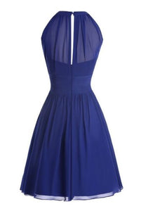 Cobalt Royal Blue chiffon short high neck bridesmaid evening bridal dress Loulous Bridal Boutique Ltd UK