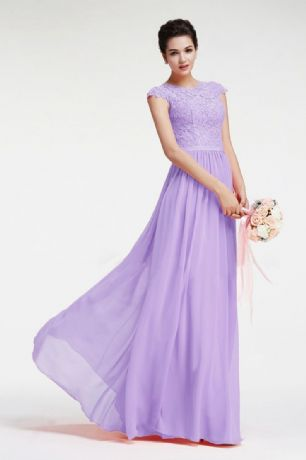 Gaynor pale lilac cap sleeved long chiffon lace bridesmaid wedding bridal dress uk online bridal boutique Loulous bridal boutique