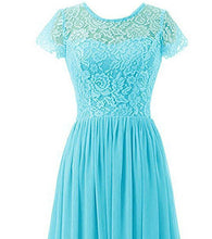 Helena aqua spa turquoise blue  short sleeved lace chiffon long bridesmaid wedding prom evening dress loulous bridal boutique ltd uk