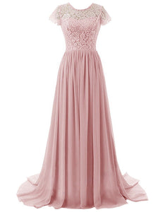 Helena Dusky Blush Rose Pink lace chiffon short sleeved long maxi bridesmaid wedding bridal prom evening formal occasion ballgown dress uk online loulous bridal boutique