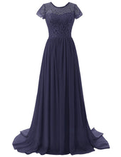 Helena Dark Navy midnight blue lace chiffon short sleeved long maxi bridesmaid wedding bridal prom evening formal occasion ballgown dress uk online loulous bridal boutique
