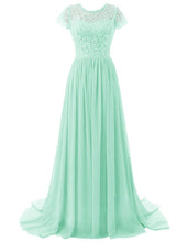 Helena Peppermint Mint Pale Pastel Green lace chiffon short sleeved long maxi bridesmaid wedding bridal prom evening formal occasion ballgown dress uk online loulous bridal boutique