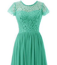 Helena Pixie sea green lace chiffon short sleeved long maxi bridesmaid wedding bridal prom evening formal occasion ballgown dress uk online loulous bridal boutique