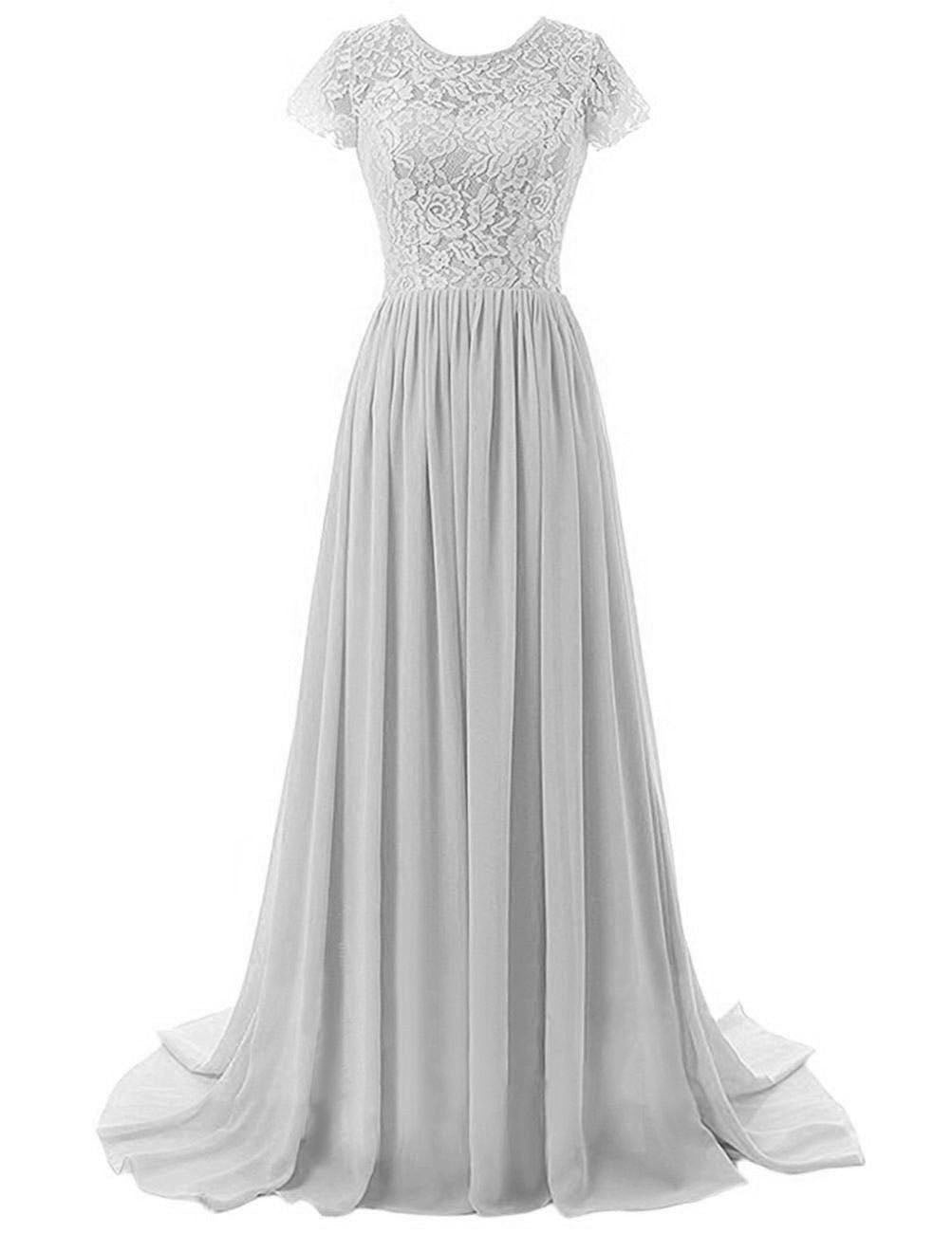 Helena silver grey lace chiffon short sleeved long maxi bridesmaid wedding bridal prom evening formal occasion ballgown dress uk online loulous bridal boutique