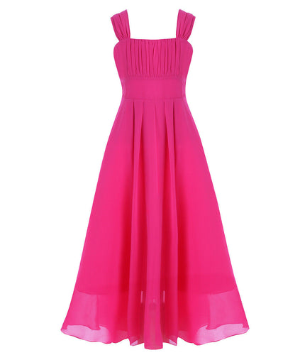 Willow Cerise Fuchsia Hot Pink chiffon long flower girl junior bridesmaid dress loulous bridal boutique ltd uk