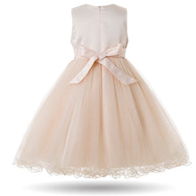 Sofia Cream Champagne Flower Applique Tulle Tutu Girls Baby Childrens Party Flowergirl Dress UK Loulous Bridal Boutique