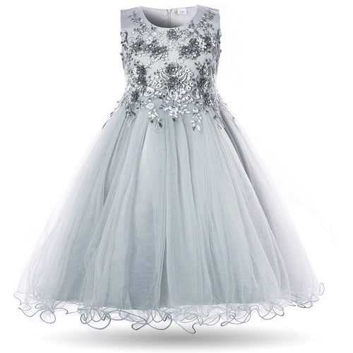 Sofia Silver Grey Flower Applique Tulle Tutu Girls Baby Childrens Party Flowergirl Dress UK Loulous Bridal Boutique