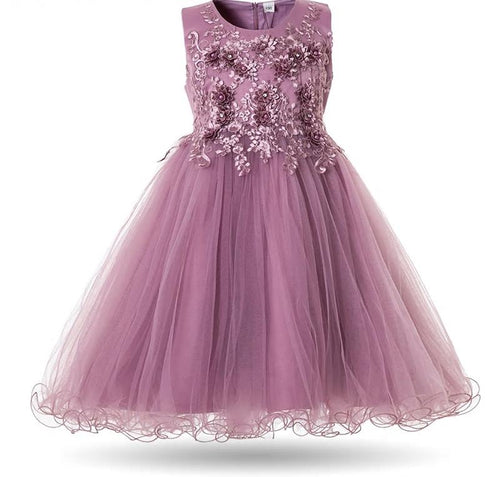 Sofia Lavender Mist Flower Applique Tulle Tutu Girls Baby Childrens Party Flowergirl Dress UK Loulous Bridal Boutique