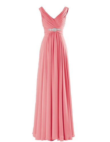 Henley Coral Chiffon long bridesmaid wedding bridal evening prom cruise ballgown formal occasion dress uk