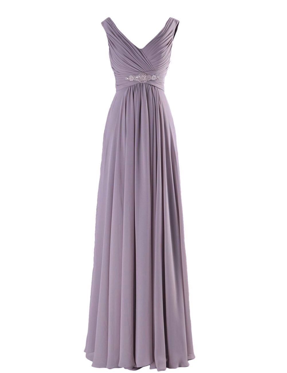 Henley Lavender mauve Grecian Chiffon long bridesmaid wedding bridal evening prom cruise ballgown formal occasion dress uk