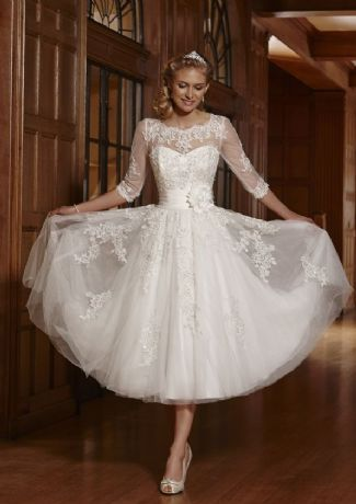 Imogen Ivory White Tea Length 3/4 Sleeved Wedding Dress Loulous Bridal Boutique UK