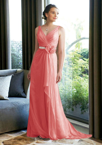 Isobel coral long beaded bridesmaid prom evening dress uk loulous bridal boutique ltd