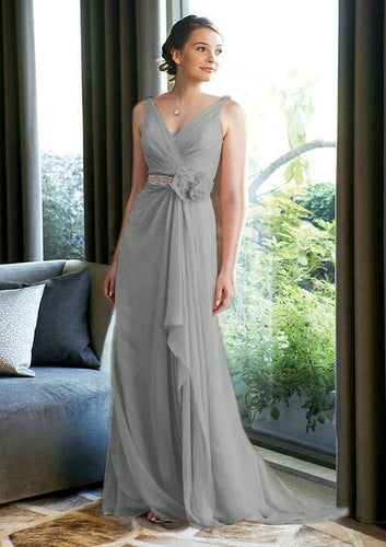 Isobel silver grey long beaded bridesmaid prom evening dress uk loulous bridal boutique ltd