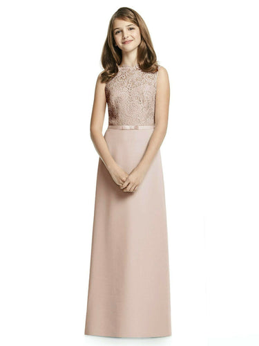 IVY champagne LACE CHIFFON LONG JUNIOR BRIDESMAID FLOWER GIRL PARTY DRESS LOULOUS BRIDAL BOUTIQUE UK