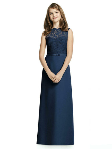 IVY dark navy blue LACE CHIFFON LONG JUNIOR BRIDESMAID FLOWER GIRL PARTY DRESS LOULOUS BRIDAL BOUTIQUE UK