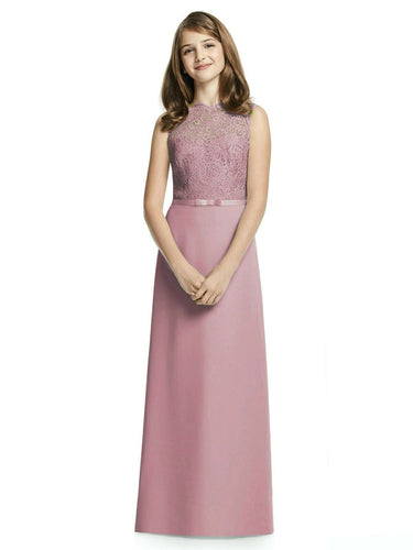 IVY dusky blush pink LACE CHIFFON LONG JUNIOR BRIDESMAID FLOWER GIRL PARTY DRESS LOULOUS BRIDAL BOUTIQUE UK