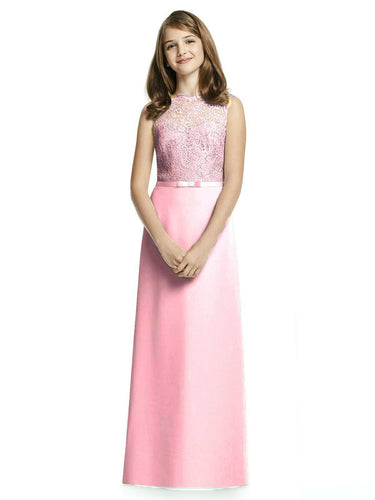 IVY light pale pink LACE CHIFFON LONG JUNIOR BRIDESMAID FLOWER GIRL PARTY DRESS LOULOUS BRIDAL BOUTIQUE UK