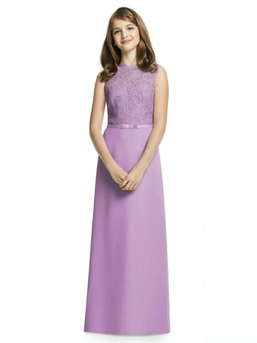 IVY lilac mauve purple LACE CHIFFON LONG JUNIOR BRIDESMAID FLOWER GIRL PARTY DRESS LOULOUS BRIDAL BOUTIQUE UK
