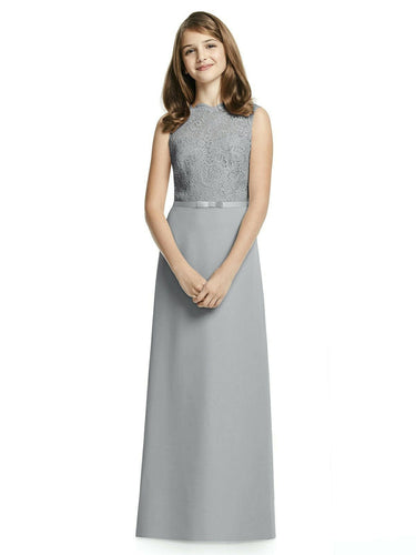 IVY silver grey LACE CHIFFON LONG JUNIOR BRIDESMAID FLOWER GIRL PARTY DRESS LOULOUS BRIDAL BOUTIQUE UK