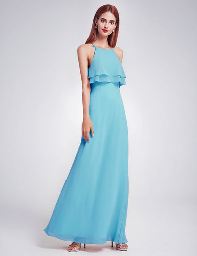 Jennifer aqua turquoise spa blue frill keyhole long bridesmaid wedding bridal prom cruise evening dress uk
