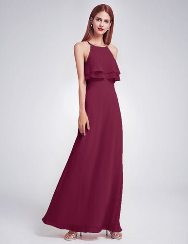 Jennifer burgundy berry red wine cranberry maroon frill keyhole long bridesmaid wedding bridal prom cruise evening dress uk