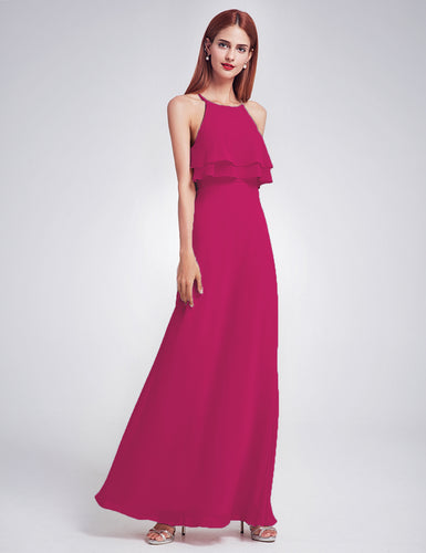 Jennifer fuchsia hot pink cerise frill keyhole long bridesmaid wedding bridal prom cruise evening dress uk