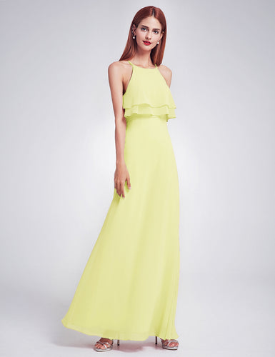 Jennifer pale light baby pastel lemon yellow frill keyhole long bridesmaid wedding bridal prom cruise evening dress uk