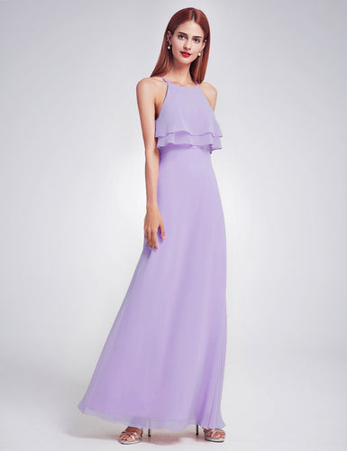 Jennifer lilac lavender mauve frill keyhole long bridesmaid wedding bridal prom cruise evening dress uk